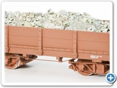 Styrene Full Gon., 3/4 View. With Ore Load. Painted and Lettered for our Model Railroad.